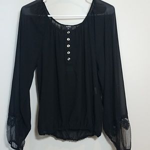 XOXO Sheer Embroidered Sleeves top